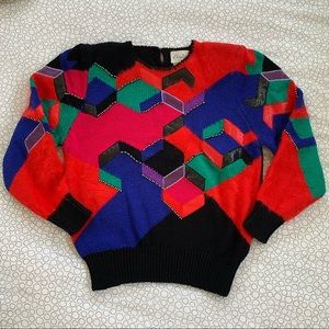 Vintage Angora Wool Multicolor Knit Sweater